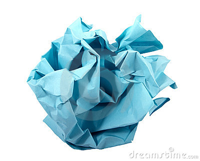 Ball of crumpled blue paper.