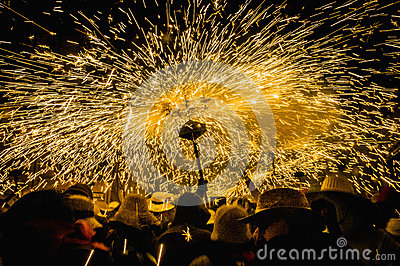 Ball de Diables on Correfoc in Cervera Editorial Stock Image