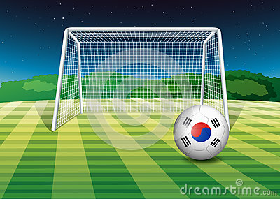A ball at the field with the flag of South Korea