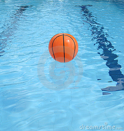 Ball floating on the swimming pool