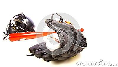 Ball, glove, bat, and helmet