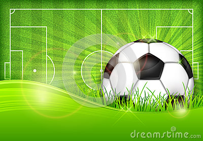 Ball on green field background