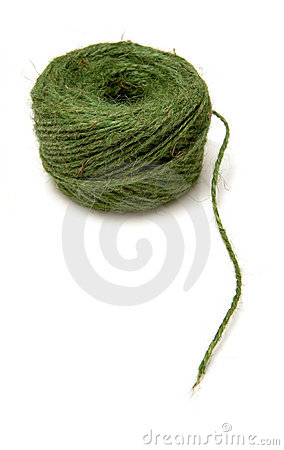 Ball of green garden twine