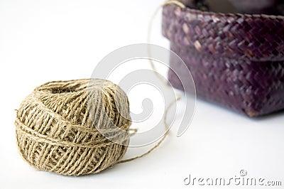 Ball of hemp rope with basket