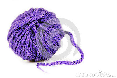 Ball of intense purple wool or yarn