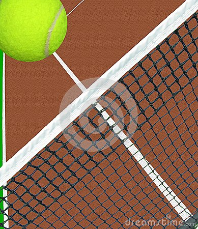 Ball over tennis net
