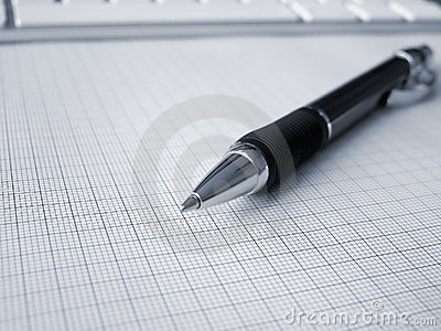 Ball-point pen on graph paper