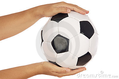 Ball of soccer in the hands