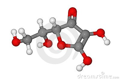 Ball and stick model of ascorbic acid molecule