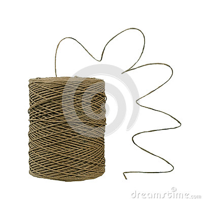 Ball of string unravelling - isolated over white
