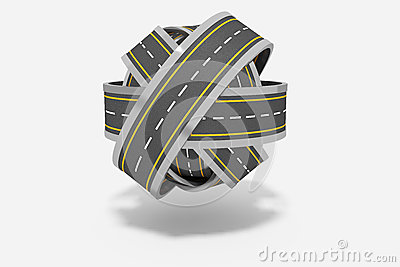 Ball of tangled roads Stock Photo