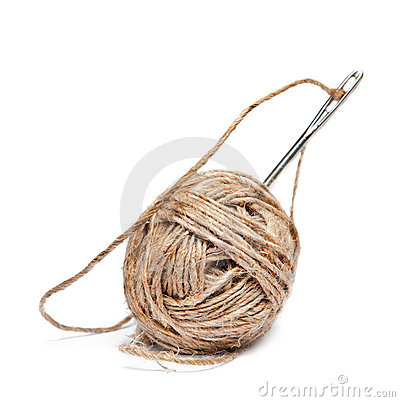 Ball of threads with the needle