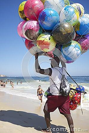 Ball Vendor Ipanema Beach Rio de Janeiro Brazil Editorial Photo