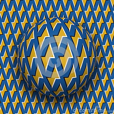 Free Ball With A Golden Lightnings Blue Pattern Rolls Along Golden Lightnings Blue Surface. Abstract Vector Optical Illusion Royalty Free Stock Photo - 101538915