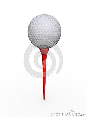 Balle de golf et té
