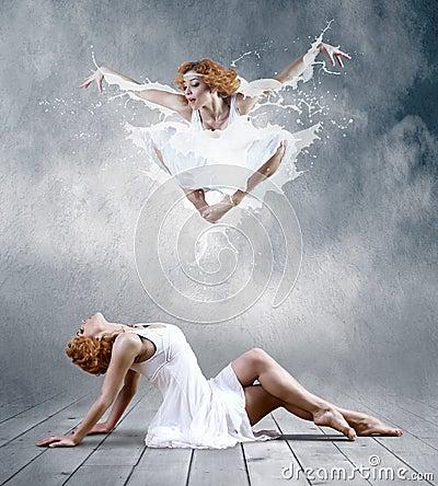 Ballerina in dress of milk