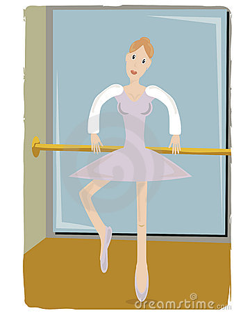 Ballerina gripping pole lifting leg