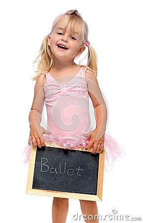 Ballerina holds chalk board