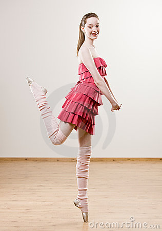 Free Ballerina In Frilly Dress And Leg Warmers Stock Image - 6568801