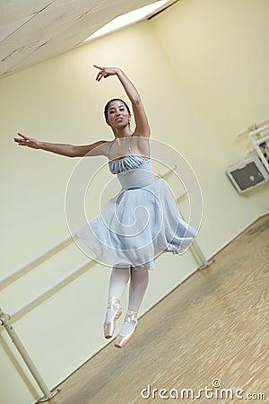 Ballerina in midair