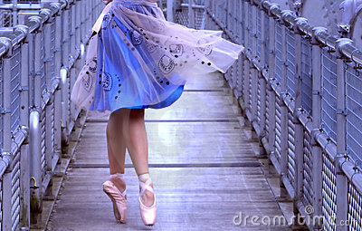 Ballerina on pedestrian bridge