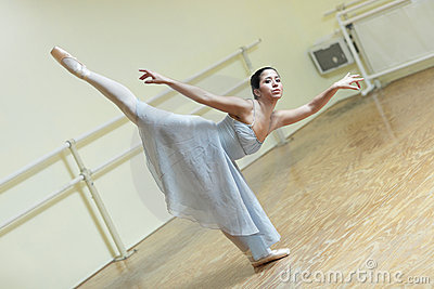 Ballerina practicing in the studio