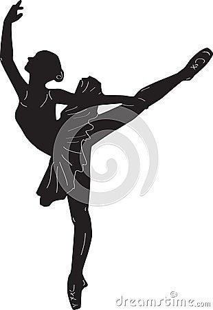 Ballerina print outline silhouette dance