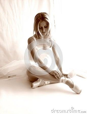 Ballerina soft focus sepia