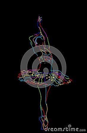 Abbozzo stilizzato di una ballerina, oggetti isolati sopra priorità ...