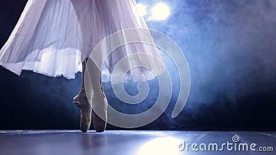 Ballerina'svoeten aangezien zij pointe arabesque stappen maakt stock videobeelden