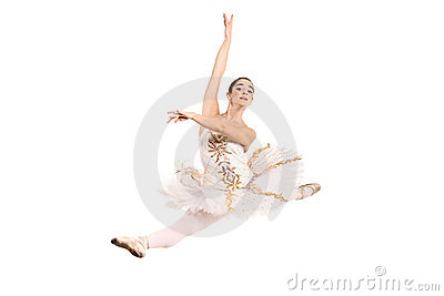 Ballerina wearing white ballet dress in jump