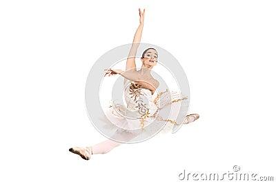Ballerina wearing white ballet dress in jump