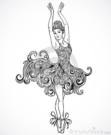 Free Ballerina With Floral Ornament Dress. Vintage Black And White Hand Drawn Vector Royalty Free Stock Image - 68303386