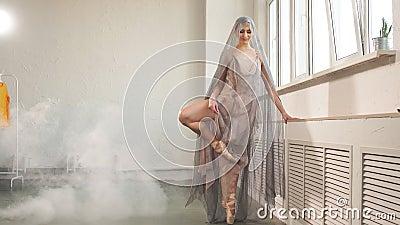 Ballerine dans la robe scénique de la voile bien aérée établissant dans le hall vide banque de vidéos