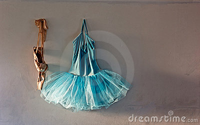 Ballet costume on old wall