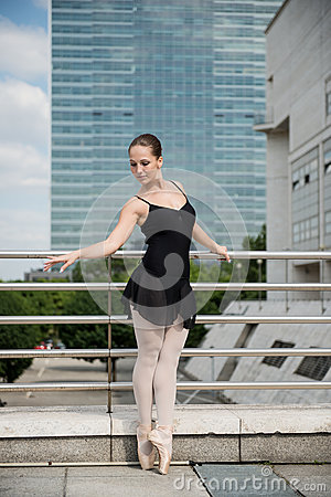 Ballet dancer dancing on street