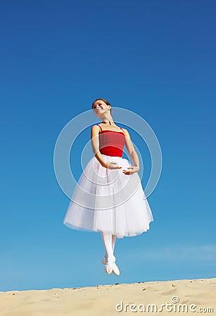 Free Ballet Dancer On Beach Stock Photography - 6356612