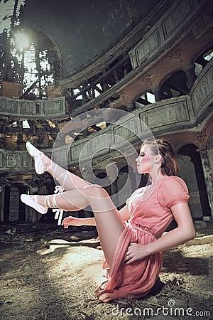Ballet dancer posing on church