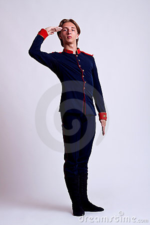 Ballet performer saluting