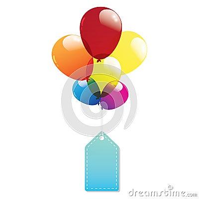 Ballongetiketten märker färgrikt