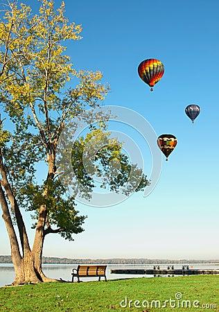 Ballons à air chauds au-dessus de lac