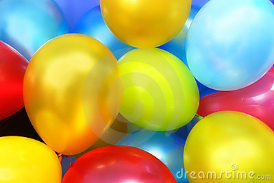 Ballons colorés de réception