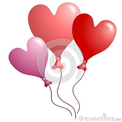 Ballons En Forme De Coeur 2 Du Jour De Valentine Images Libres De Droits