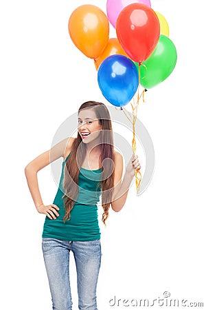 Ballons heureux de fixation de femme