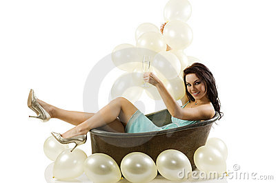 Ballons and old fashion bath