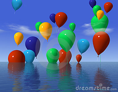 Ballons in water