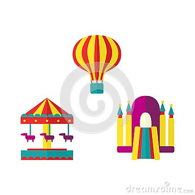 Free Balloon, Bouncy Castle And Carousel Icon Set Royalty Free Stock Image - 101278376