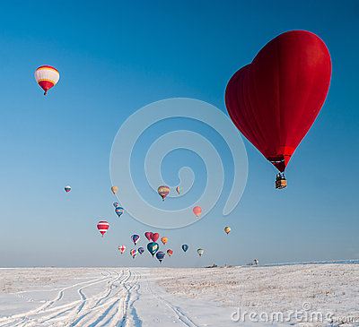 Free Balloon In The Form Of Heart On Snow Field Royalty Free Stock Photos - 73922508