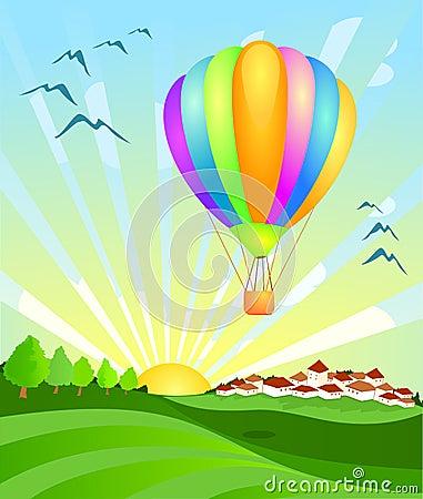 Free Balloon Landing At Dawn Royalty Free Stock Image - 13286106