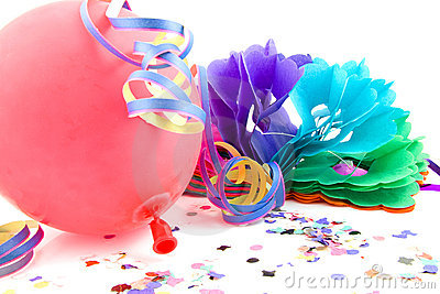 Balloon and party streamers for birthday